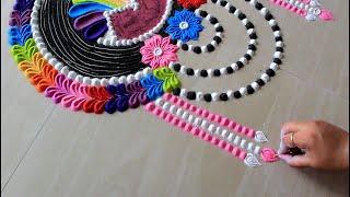 Download Easy rainbow rangoli design with colours l muggulu l rangoli designs l रंगोली डिजाइन l Satisfying Video