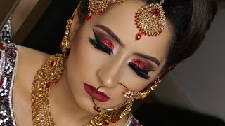Download Real Bride | Modern Traditional Asian Bridal Makeup | Red Glittery Smokey Eyes Video