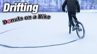 Download Can a Bike do Donuts? || Bicycle Drifting on Snow Video