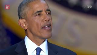 Download Obama tears up as he thanks family and Joe Biden in farewell speech Video