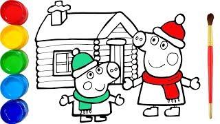 Download Vẽ Peppa Pig vui giáng sinh và tô màu cho bé - Glitter Peppa's Christmas drawing and coloring Video
