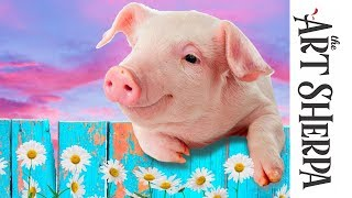 Download How to paint with Acrylic on Canvas adorable Pig with flowers Video
