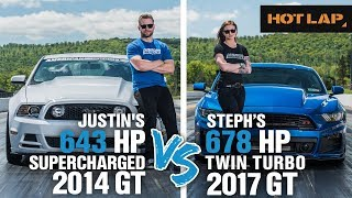 Download Justin vs Steph Drag Race | 643+ HP Supercharged GT vs 678+ HP Twin Turbo Mustang GT - Hot Lap Video