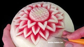 Download Simple Watermelon Flower Style - Int Lesson 1 By Mutita Art Of Fruit And Vegetable Carving Video Video