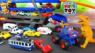 Download Cars for children. Transporter, Ambulance, Garbage Truck, Cars, Taxi, monster truck. Video with toys Video