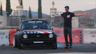 Download [HOONIGAN] Ryan Tuerck gets first go in Ken Block's Gymkhana Escort! Video