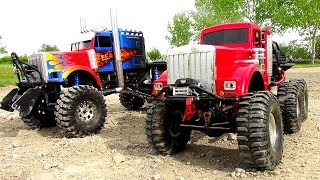 Download WHO CAN PULL MORE?! OPTiMUS vs BiG RED - iNSANE 6X6 RC TRUCKS Battle THE JUDGE | RC ADVENTURES Video