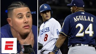 Download Manny Machado called a 'dirty player' by Brewers after bench-clearing kick on Jesus Aguilar Video