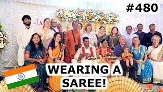 Download WEARING A SAREE AT INDIAN WEDDING | KOCHI DAY 480 | INDIA | TRAVEL VLOG IV Video