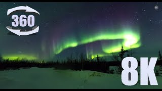 Download 8K 360 video of the Aurora Borealis near Circle, Alaska. Video