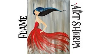 Download EASY How to paint with Acrylic on Canvas Girl in a Red party Dress Video