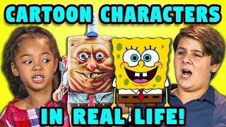 Download 10 CARTOON CHARACTERS IN REAL LIFE w/ KIDS (React) Video