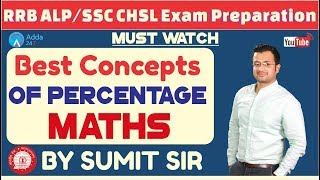 Download RRB ALP / GROUP D , SSC CHSL | Best Concepts Of Percentage | Maths Video