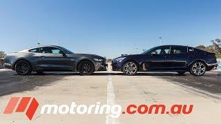 Download Ford Mustang GT v Kia Stinger GT Drag Race   motoring.au Video