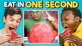 Download Try To Eat In 1 Second Challenge (Speed Eating) | Teens & College Kids Vs. Food Video