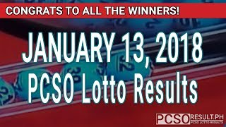 Download PCSO Lotto Results Today January 13, 2018 (6/55, 6/42, 6D, Swertres, STL & EZ2) Video