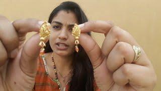 Download న గోల్డ్ పోగులు ఎలా ఉన్నాయి ఫ్రెండ్స్ My Gold Earrings Collection with Grams in Telugu Video