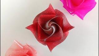 Download สอนพับเหรียญโปรยทานอย่างง่าย ลายน่ารัก ลายดอกกุหลาบแคระ .. Ribbon Art Video