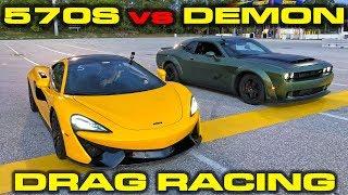 Download 840HP Dodge Demon vs 562HP McLaren 570S Drag Racing 1/4 Mile Video