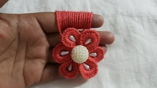 Download Hand Embroidery Easy Amazing Trick Wool Flower Making Finger Hack Design #123 Video