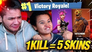 Download 1 KILL = 5 FREE SKINS FOR MY 9 YEAR OLD LITTLE BROTHER! 9 YEAR OLD PLAYS SOLO FORTNITE BATTLE ROYALE Video