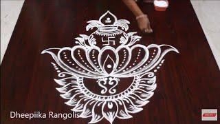 Download varalakshmi vratham special kalasam muggulu l friday lotus kolam design l easy rangoli Video