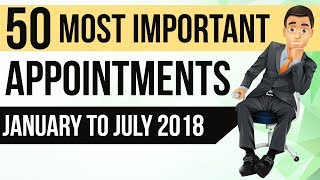 Download 50 Most Important Appointments of 2018 - National & International - January to July Current Affairs Video