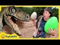 Download Park Ranger Takes Dinosaur Egg! Raptors Chase Aaron on Surprise Eggs Toy Hunt, Family Fun Kids Toys Video