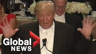 Download Full monologue: Donald Trump roasts Hillary Clinton at Al Smith charity dinner Video