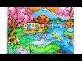 Download Cara gradasi warna oil pastel crayon - menggambar pemandangan dengan Rumah dan Air terjun Mini Video