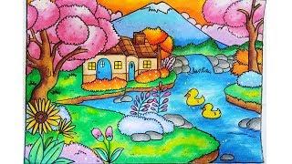 Mewarnai Pemandangan Taman Dengan Gradasi Crayonoilpastel Free