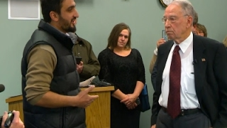 Download Grassley Faces Refugee at Town Hall Video