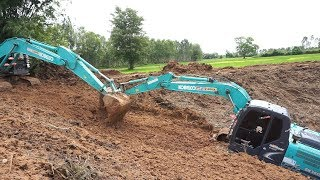Download !!!!! งานเข้าแล้ววว ติดหล่มงานขุดลอก Excavator Kobelco Sk200-8 vs Sk140-8 Video