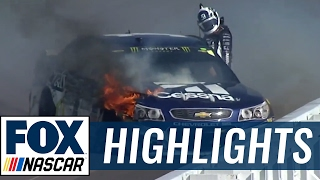 Download Jimmie Johnson Slams into Outside Wall as Jamie McMurray Catches Fire | 2017 POCONO | FOX NASCAR Video