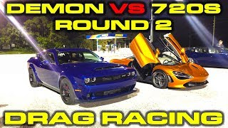 Download Round 2: Dodge Demon vs McLaren 720S Drag Racing 1/4 Mile Video