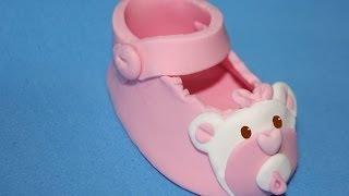Download Zapato de bebé para tartas de fondant. Baby shoe cake topper Video