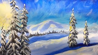 Download Winter Landscape Step by Step Acrylic Painting on Canvas for Beginners Video