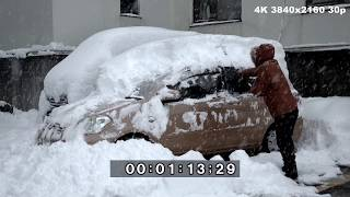 Download Extreme Sea Effect Snow In Japan, Buried Cars And Snow Clearing - 4K Stock Footage Video