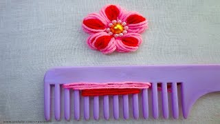 Download easy Sewing Hack with hair comb |Hand Embroidery amazing Tricks #19|super easy flower embroidery Video