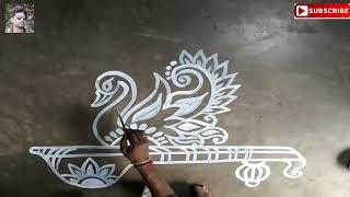 Download হাঁস ও বীণার আলপনা # saraswati pujar alpona,easy rangoli,muggulu designs Video