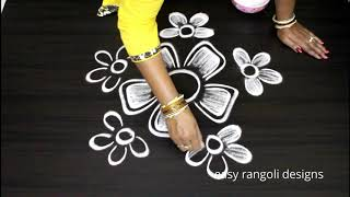 Download Simple n cute free hand kolam designs || easy rangoli arts || new muggulu patterns Video