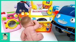 Download Tayo Bus in Real Life. Littel Bus Baby Care Pororo Song Washing Machine Baby Doll Toys | MariAndToys Video