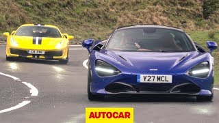 Download Ferrari 488 Pista v McLaren 720S on the road ... in the wet | Supercar review | Autocar Video