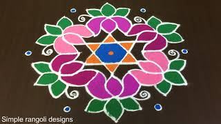 Download Beautiful Lotus Flowers Rangoli Designs for Sankranti With 11 to 6 Dots [Rangoli Dizain] Video
