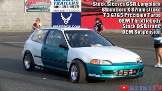 Download 9 Second Stock Block GSR Honda Civic - Pan American Nationals 2016 @ Atco Raceway Video