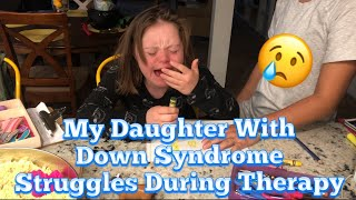 Download My Daughter With Down Syndrome Struggles During Behavior Therapy Video