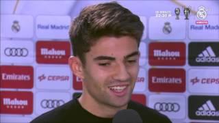 Download Entrevista Enzo Zidane e imágenes en el calentamiento partido contra Cultural Leonesa Real Madrid Video