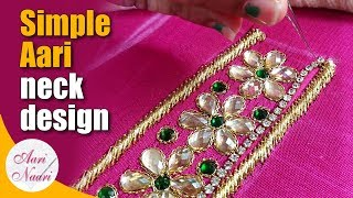 Download Simple aari neck design tutorial | Easy aari work Back Neck Design with stone chain |hand embroidery Video