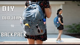 Download DIY UPCYCLED OLD JEANS TO A BACKPACK/牛仔裤改造双肩包手作教学 Video