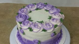 Download Simple ROSETTE OMBRE CAKE. Cake Decorating. Video